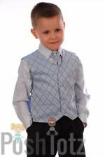 Baby Boys Suits, Formal, Weddings, Pageboy 4pc Black & Blue Suit (0-3mths-15yrs)