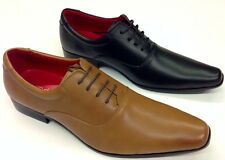 Mens  Casual  Leather Smart Formal Lace Up Shoes Black and Tan Brown Marc Darcyr