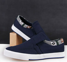Mens Fashion Round Toe Low Top Slip On Sneakers Korean Casual Canvas Flat Shoes