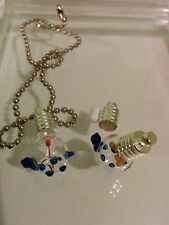 Turtle (Blue) Hand-Made Glass Vial Necklace Pendant w/ Silver Plated Cap New*