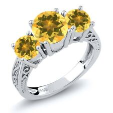2.20 Ct Round Yellow VS Citrine 925 Sterling Silver 3-Stone Ring
