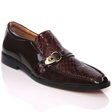 UNZE DARL' MENS LEATHER SHINY STYLE SLIP ON SHOES SIZE UK 7-12 BROWN