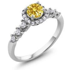 0.88 Ct Golden Yellow 925 Sterling Silver Ring Made With Swarovski Zirconia