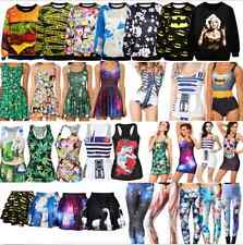 Sexy Women 3D Digital Print Punk Vest Pleated Dress Bikini Legging Skirt Hoodies