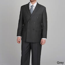 Caravelli Super 150 Mens Gray Suit Pinstripes Double Breasted 2 Button $499 New
