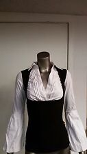 New Frederick's Of Hollywood 2Pc Look White Blouse/Vest Top