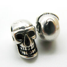 925 Solid Sterling Silver skull Charm Spacer Beads for Jewelry 9*7MM S925GY052