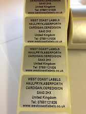 Rolls of Printed Personalised SILVER RETURN ADDRESS Labels - 38mm x 25mm