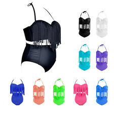 Sexy Lady's Retro Multi Colors Swimwear Fringe Swimsuit High Waisted Bikini Hot