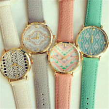 Fashion Vintage Leather Geometric Wave Geneva India Watch Women Quartz Watches