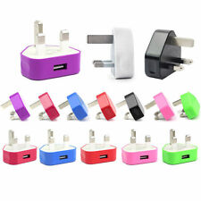 Colour UK USB PLUG WALL MAINS CHARGER FOR Samsung HTC iPhone 4 4s 5 iPod PHONES