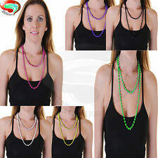 """48"""" long rope bead strand necklace coloured Retro Neon nights party beads"""
