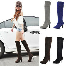 New Womens High Heel Fold Knee High Side Zipper Boots Shoes US All Size F063