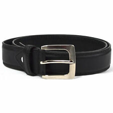 "Mens Black Bonded Leather Belt Silver Buckle Genuine Leather Lining 1.25"" Width"