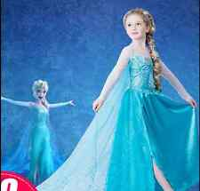 Disney FROZEN Princess Anna Elsa Queen Girls Cosplay Costume Party Formal Dress!