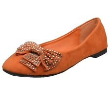 Womens Ballet Flats Studded Bow Accent Slip On Comfort Shoes Orange