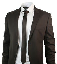 Mens Slim Fit Chocolate Brown Suit Blazer & Trouser Office Wedding Party Formal