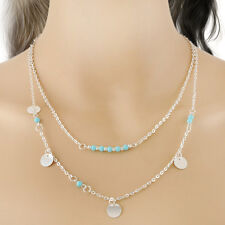 1 PC Simple Double Chain Necklace Blue Beads Shinning Sequins Nice Jewelry