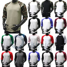 BaseBall T-Shirts 3/4 Sleeve Raglan Jersey S-3XL Plain Tee Men's camo black New