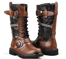 Mens Fashion Military Combat Mid Calf Leather Vintage Western Cowboy Boots Shoes