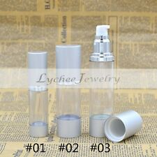 Empty Airless Pump Lotion Bottles Portable Clear Silver Travel Free Shipping