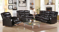Bonded Leather Sofa Set in Espresso Sofa and Loveseat W/ Motion & Recliner Chair