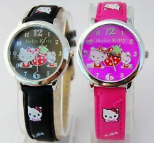 Gift 1 pcs HelloKitty ladies Girls student leather wrist Watch ZW91-FREE P&P