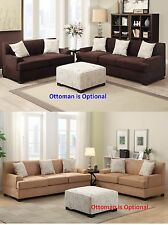 Sectional 2 pc Sofa & Loveseat in 2 color Microsuede living room Furniture set