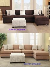 Sectional 2 pc Sofa & Chaise in 2 color Microsuede living room Furniture set