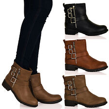 WOMENS ANKLE BOOTS LADIES SHOES ZIP BUCKLE CASUAL SMART LOW HEELS FLAT NEW SIZE