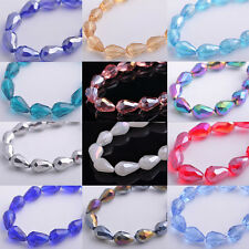 20pcs 10x15mm Faceted Glass Crystal Charms Findings Teardrop Spacer Loose Beads
