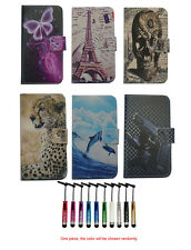 For Sony LG Blackberry Wallet card Magnetic flip Leather case cover + stylus