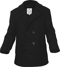 Black US Navy Type Quilted Wool Peacoat