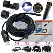 7mm HD Borescope USB Endoscope 6Leds Inspection Camera 2/5/7/10M Cable