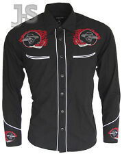 BLACK with RED LOGO COWBOY ROCKABILLY LINE DANCING WESTERN EMBROIDERED SHIRT