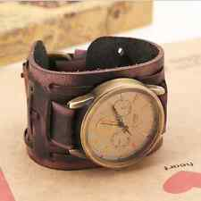 Best Match Punk Men Cool Retro Big Wide Leather Bracelet Cuff Watches New Style
