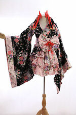 h-530 S/M/L/XL/XXL Japan Kimono schwarz black Blumen Cosplay Kostüm Set costume