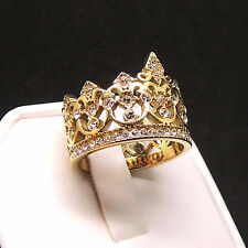 Gold Crown Ring Top Grade Crystal 316 Stainless Steel Ring Gold Plated