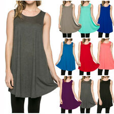 USA Women Long Tunic Dress Top Scoop Neck Sleeveless T-Shirt Loose Fit S M L XL