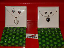 """18"""" Silver Plated Chain w/ Heart Pendant + Matching Earrings Set New In Box SALE"""
