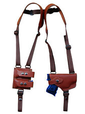 NEW Burgundy Leather Gun Shoulder Holster with Dbl Magazine Pouch for Ruger Comp
