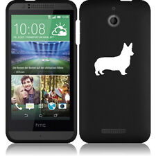 For HTC Desire 510 Rubber Hard Snap On 2 Piece Case Cover Corgi Dog