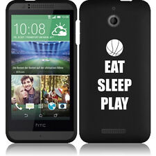 For HTC Desire 510 Rubber Hard Snap On 2 Piece Case Cover Eat Sleep Basketball