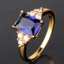 Perfect Anniversity wife's gift 24k yellow gold filled sapphire ring  Sz5-Sz9