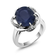 5.07 Ct Blue Sapphire Gemstone 925 Sterling Silver Women's Ring Sizes 5 to 9