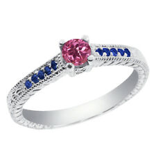 0.33 Ct Round Pink Tourmaline Blue Sapphire 14K White Gold Engagement Ring