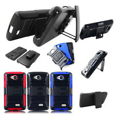 For LG Tribute LS660 F60 MS395 Armor Hybrid Rugged Holster Clip Case Cover Stand