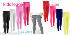2 FOR £5 Plain Girls Full Length Soft  Kids Leggings Pants Children Dancewear