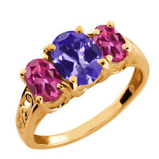 2.50 Ct Oval Pink Mystic Topaz and Tanzanite Gold Plated 925 Silver Ring