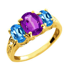 2.65 Ct Oval Amethyst and Topaz Gold Plated 925 Silver Ring